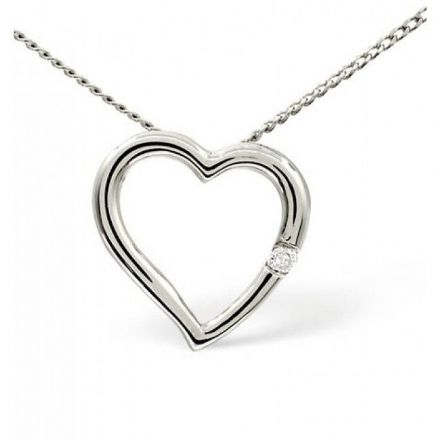 Heart Pendant 0.03CT Diamond 18K White Gold, P2409